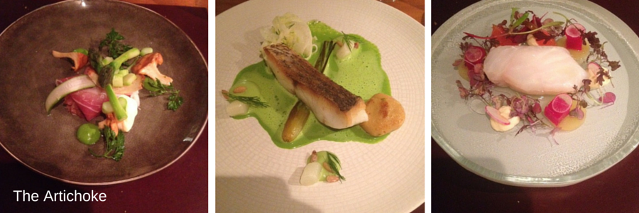A selection of dishes from The Artichoke's tasting menu