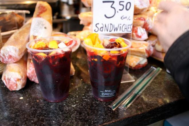 Sangria from a stall in Boqueria Food Market