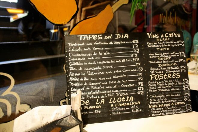 The menu at Tapac 24