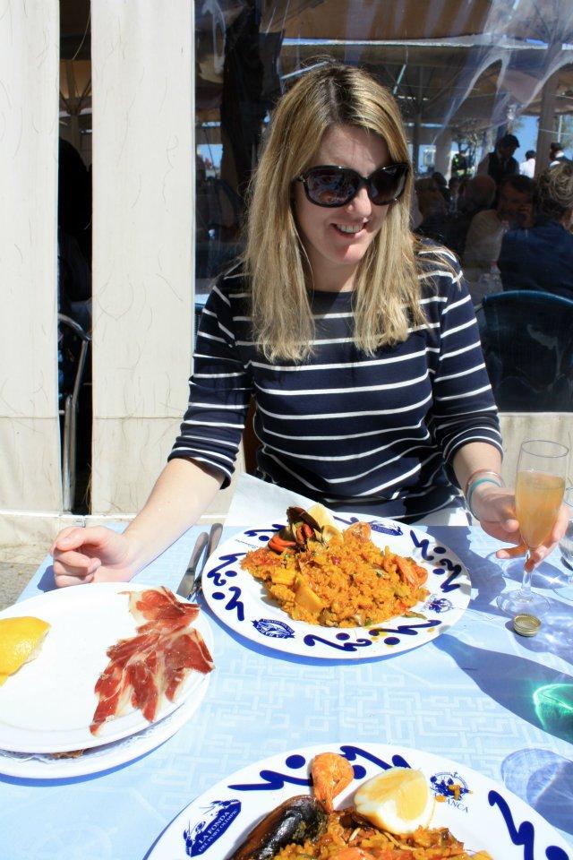 Paella at a beachfront restaurant