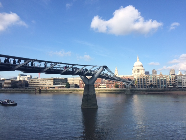 The view of Millennium Bridge and St Paul's Cathedral from the Tate Modern.