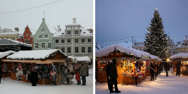 Tallinn Christmas market in the Old Town by day and by night.