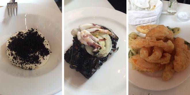 (L-R) Burrata with caponata, squid bruschetta and zucca fritti.