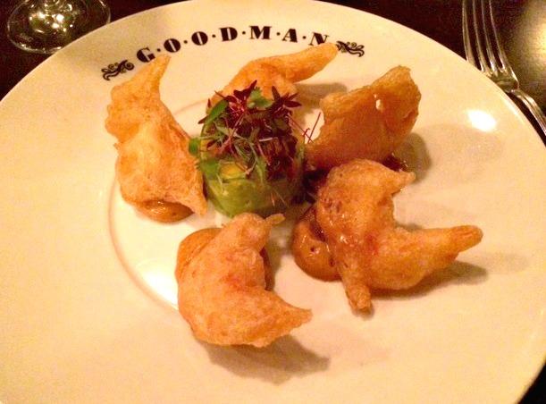 Tempura prawns with avocado and mango from Goodman.